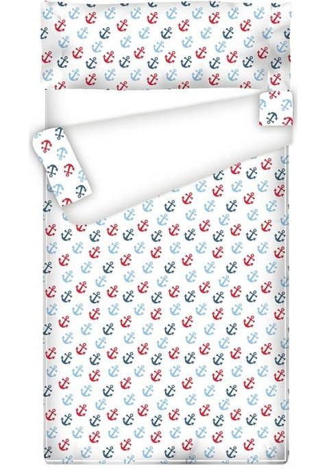 Prêt à Dormir - Facile à Border - Zippé et Extensible Coton ANCRES - Taille: 80 x 165 cm - Sans Couette