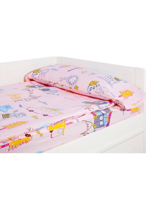 Prêt à dormir zippé et extensible - CARAVANAS HOLIDAY rose - Taille: 60 x 140 cm - Sans Couette