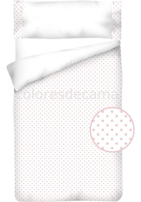 Housse de Couette Coton et Piqué – ESTRELLAS ROSE
