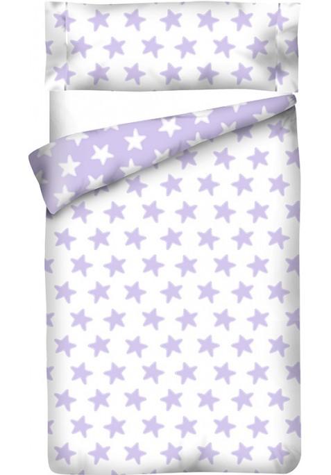 Housse de Couette Réversible Coton ÉTOILES lilas - fond blanc