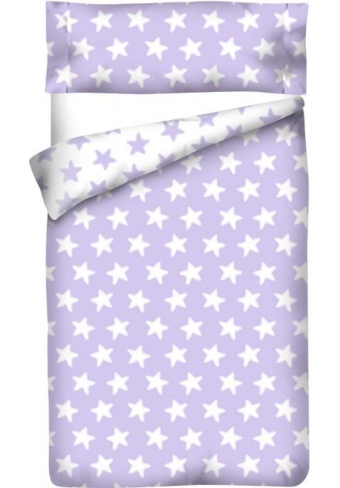 Housse de Couette Réversible Coton ÉTOILES blanc - fond lilas