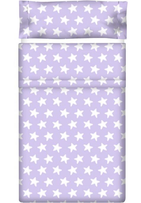 Drap Plat imprimé Coton ÉTOILES blanc - fond lilas