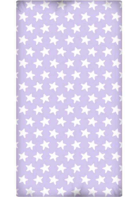 Drap Housse imprimé Coton ÉTOILES blanc - fond lilas