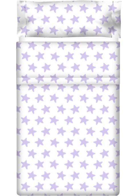 Drap Plat imprimé Coton ÉTOILES lilas - fond blanc