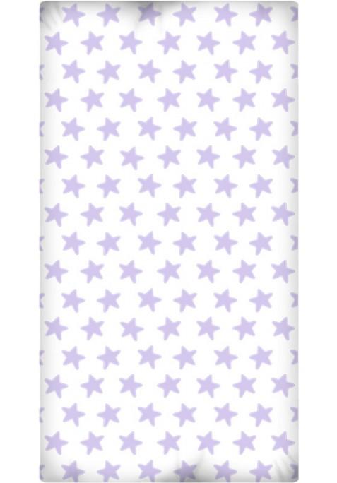 Drap Housse imprimé Coton ÉTOILES lilas - fond blanc