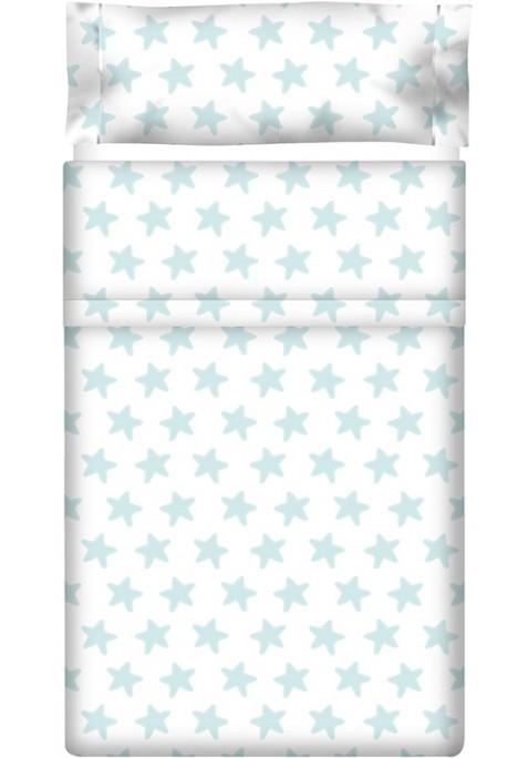 Drap Plat imprimé Coton ÉTOILES émeraude - fond blanc