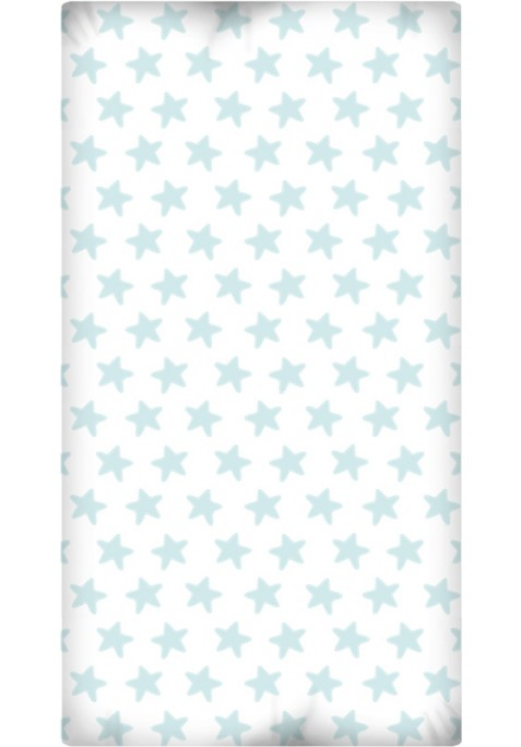 Drap Housse imprimé Coton ÉTOILES émeraude - fond blanc