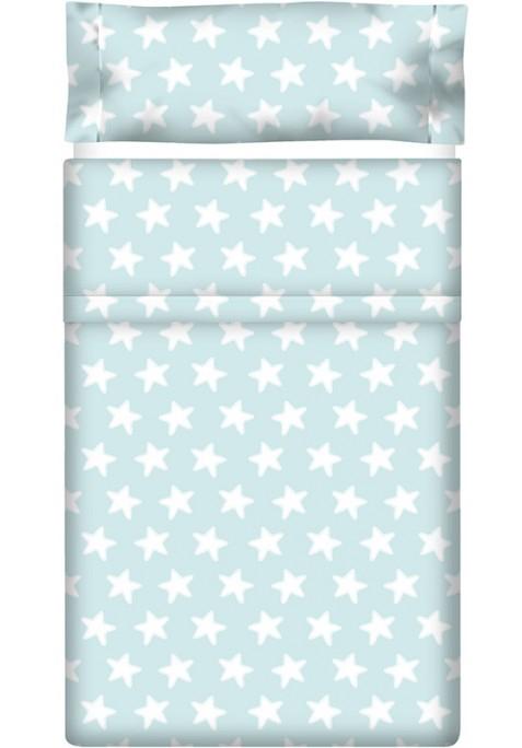 Drap Plat imprimé Coton ÉTOILES blanc - fond émeraude