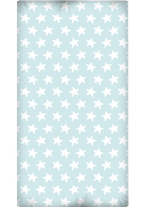Drap Housse imprimé Coton ÉTOILES blanc - fond émeraude