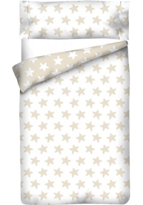 Housse de Couette Réversible Coton ÉTOILES sable - fond blanc