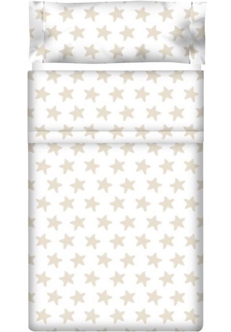 Drap Plat imprimé Coton ÉTOILES sable - fond blanc
