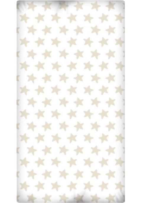 Drap Housse imprimé Coton ÉTOILES sable - fond blanc