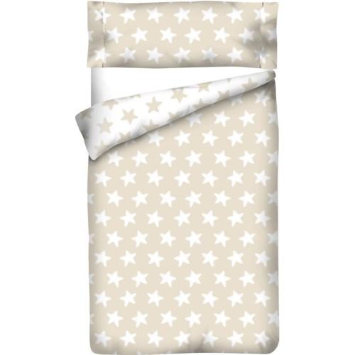 Housse de Couette Réversible Coton ÉTOILES blanc - fond sable