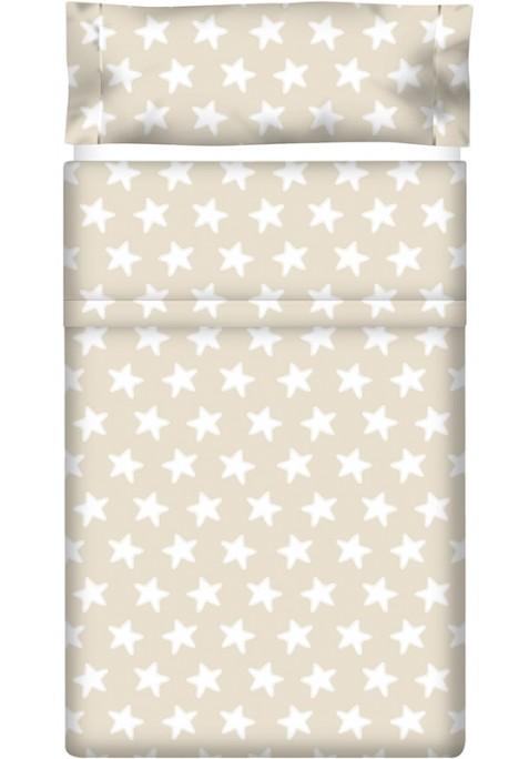 Drap Plat imprimé Coton ÉTOILES blanc - fond sable