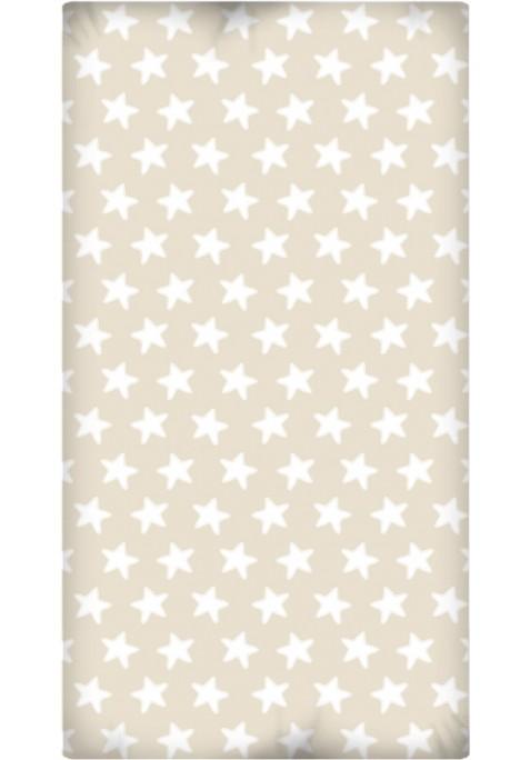 Drap Housse imprimé Coton ÉTOILES blanc - fond sable