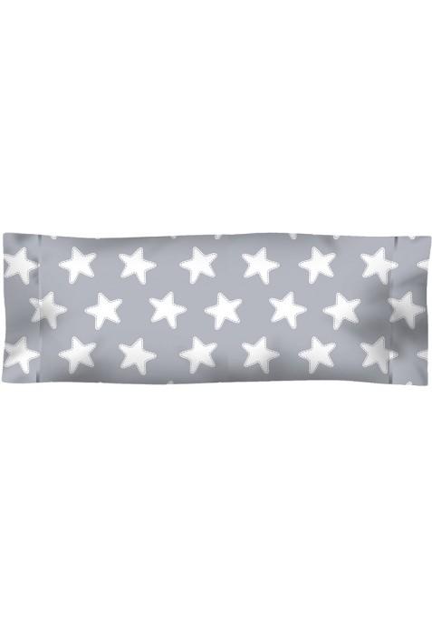 Taie D'Oreiller imprimée Coton ÉTOILES blanc - fond gris lune