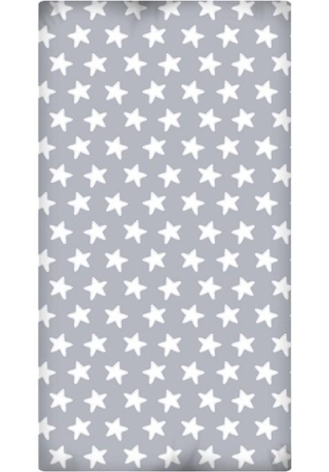 Drap Housse imprimé Coton ÉTOILES blanc - fond gris lune