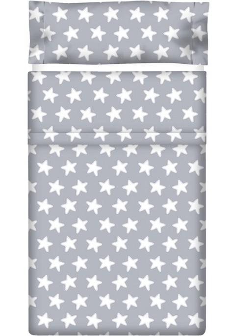 Drap Plat imprimé Coton ÉTOILES blanc - fond gris lune