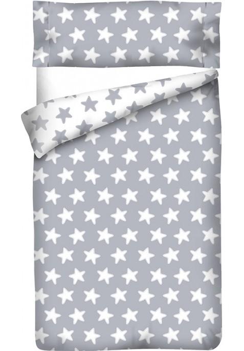Housse de Couette Réversible Coton ÉTOILES blanc - fond gris lune