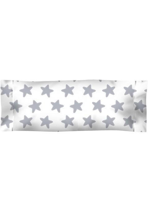 Taie D'Oreiller imprimée Coton ÉTOILES gris lune - fond blanc