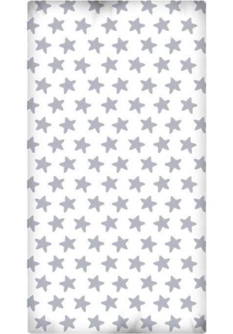Drap Housse imprimé Coton ÉTOILES gris lune - fond blanc