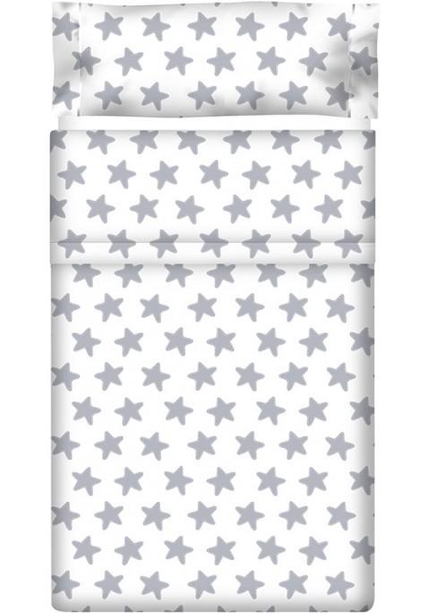 Drap Plat imprimé Coton ÉTOILES gris lune - fond blanc