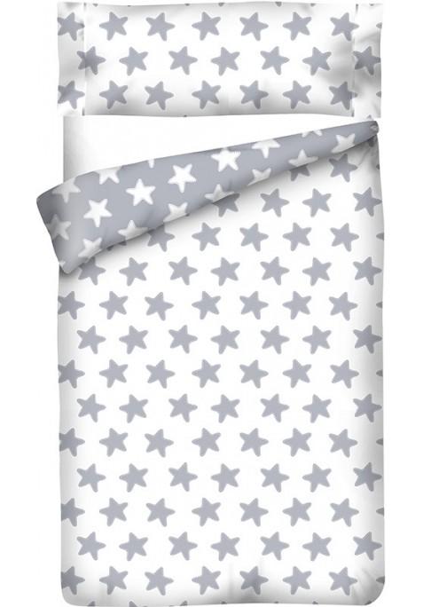 Housse de Couette Réversible Coton ÉTOILES gris lune - fond blanc