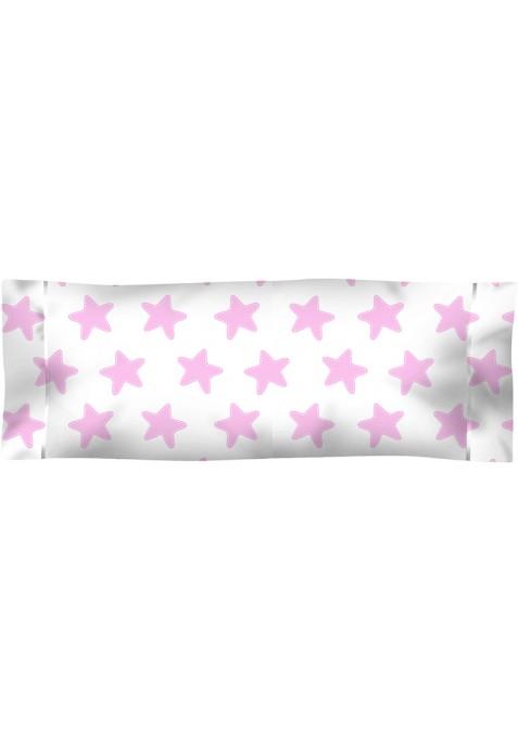 Taie D'Oreiller imprimée Coton ÉTOILES rose - fond blanc
