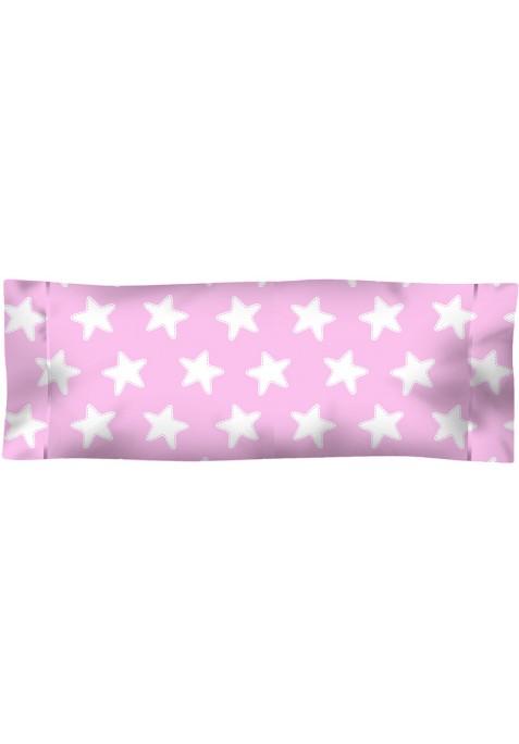 Taie D'Oreiller imprimée Coton ÉTOILES blanc - fond rose