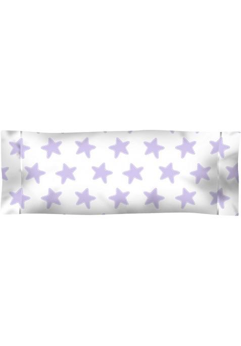 Taie D'Oreiller imprimée Coton ÉTOILES lilas - fond blanc