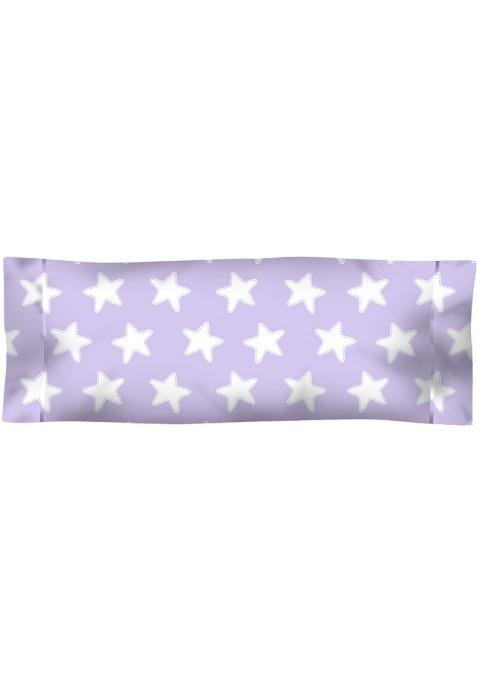Taie D'Oreiller imprimée Coton ÉTOILES blanc - fond lilas