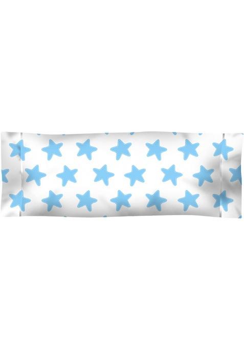 Taie D'Oreiller imprimée Coton ÉTOILES bleu - fond blanc
