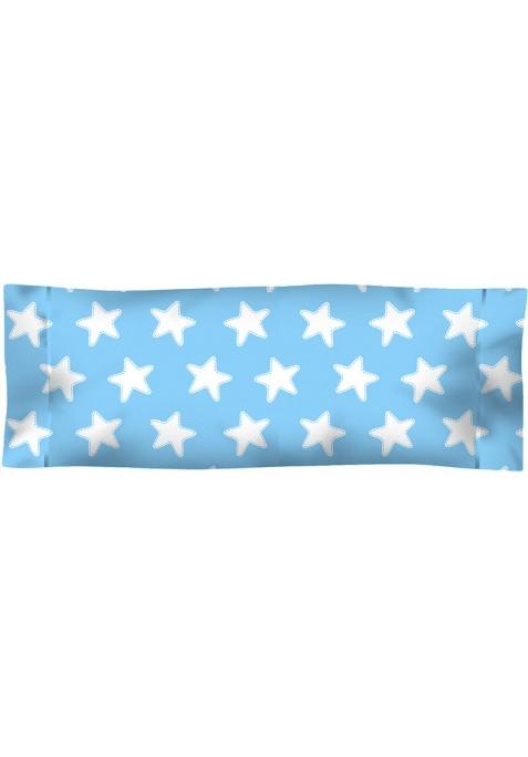 Taie D'Oreiller imprimée Coton ÉTOILES blanc - fond bleu