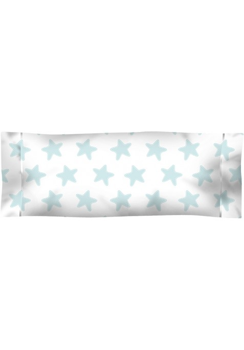 Taie D'Oreiller imprimée Coton ÉTOILES émeraude - fond blanc