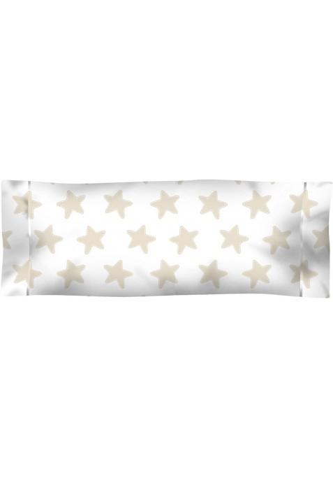 Taie D'Oreiller imprimée Coton ÉTOILES sable - fond blanc