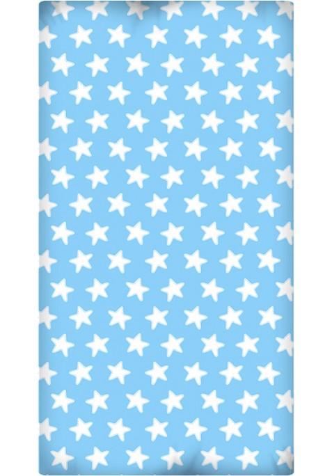 Drap Housse imprimé Coton ÉTOILES blanc - fond bleu