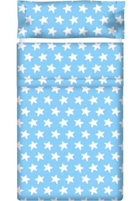 Drap Plat imprimé Coton ÉTOILES blanc - fond bleu