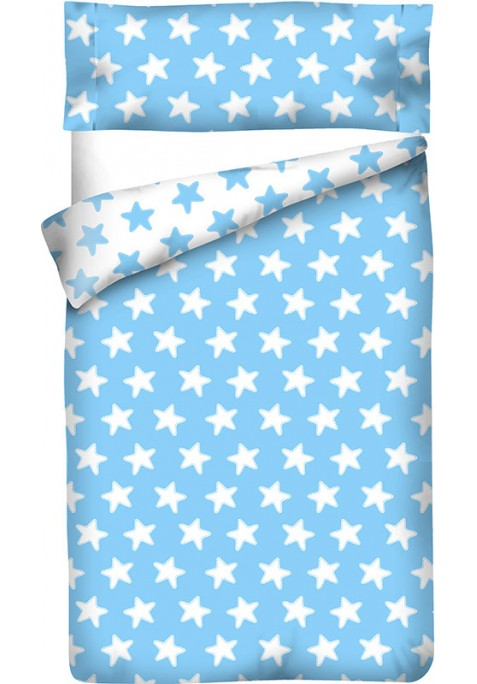 Housse de Couette Réversible Coton ÉTOILES blanc - fond bleu