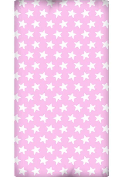 Drap Housse imprimé Coton ÉTOILES blanc - fond rose