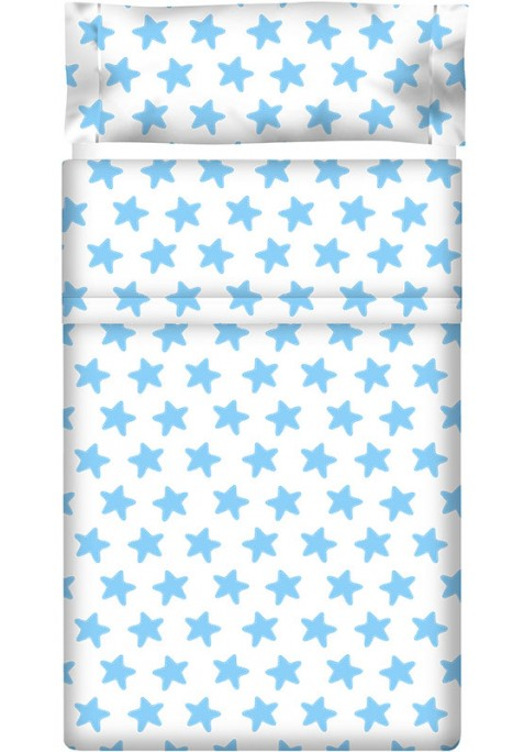 Drap Plat imprimé Coton ÉTOILES bleu - fond blanc