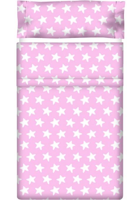 Drap Plat imprimé Coton ÉTOILES blanc - fond rose