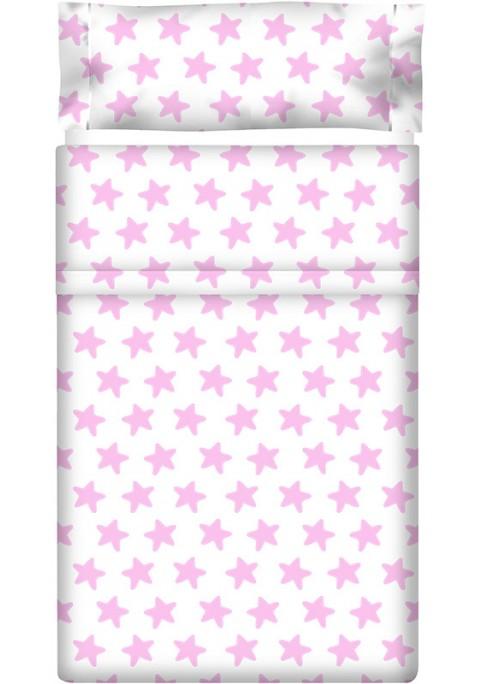 Drap Plat imprimé Coton ÉTOILES rose - fond blanc