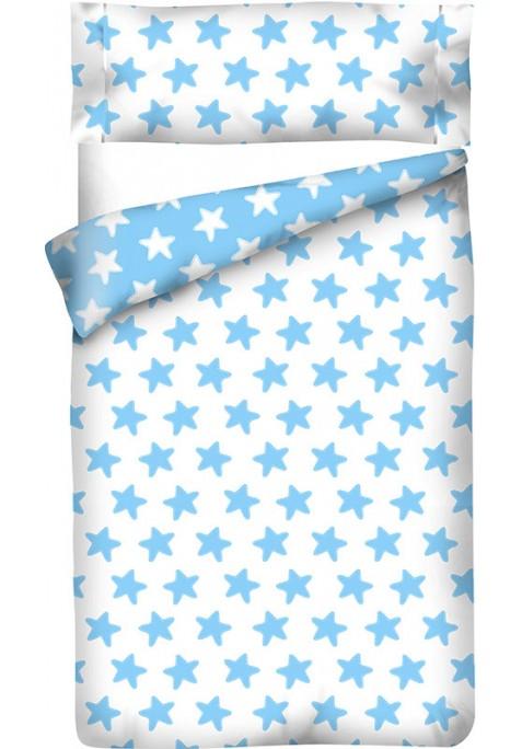 Housse de Couette Réversible Coton ÉTOILES bleu - fond blanc