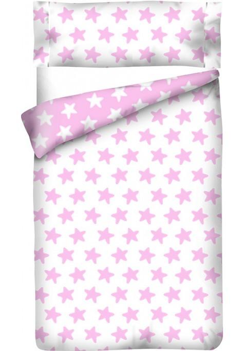 Housse de Couette Réversible Coton ÉTOILES rose - fond blanc
