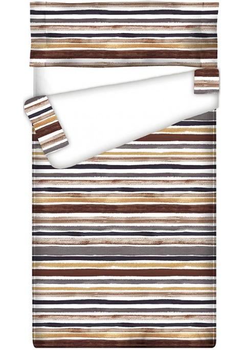 Prêt à dormir Zippé et Extensible TRACED BROWN - 150 x 190 cm - avec forme spéciale pied lit arrondi et couette 250 gr/m2