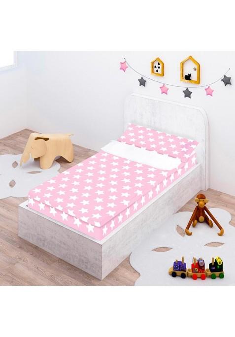 Prêt à Dormir - Facile à Border - Zippé et Extensible Coton ÉTOILES BLANC - FOND ROSE - Taille: 70 x 160 cm - Sans Couette