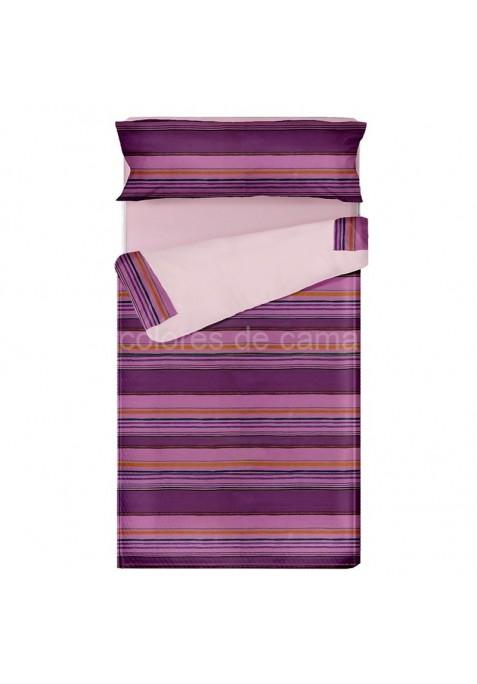 Prêt à dormir Zippé et Extensible LOLA LILAS - 80 x 190 x 8 cm - avec forme spéciale et couette 250 gr/m2