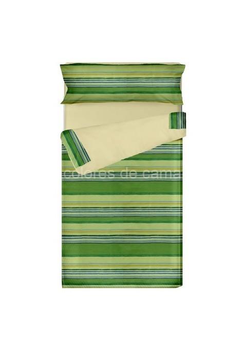 Prêt à dormir Zippé et Extensible LOLA VERT- 80 x 190 x 8 cm - avec forme spéciale et couette 250 gr/m2
