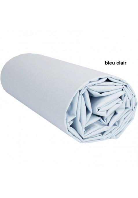Drap Housse BLEU CLAIR UNI - 60 x 210 x 14 cm