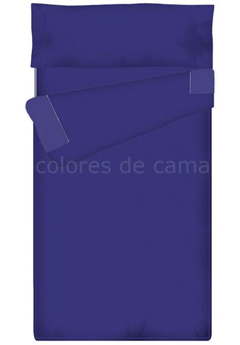 Prêt à dormir Zippé et Extensible - UNI bleu foncé - 50 x 185 x 9 cm - couette 4 saisons